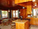 Yosemite Vacation Rental Cabin: kitchen island and adjacent dining area